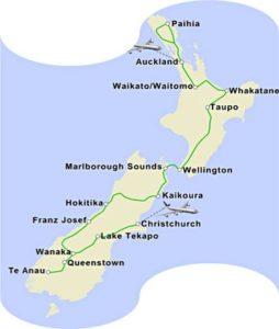 Fascination New Zealand itinerary map